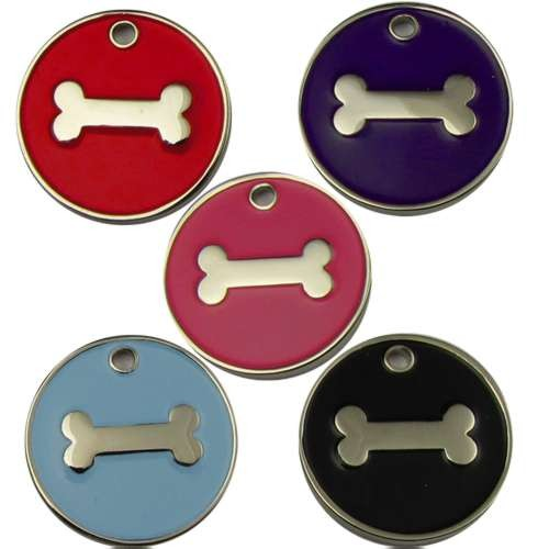 Engravable Enamelled Designer Bone Pet Tags 32 mm.