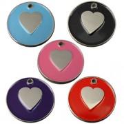 Engravable Enamelled Designer Heart Pet Tags 25 mm.