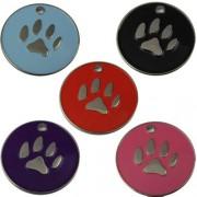 Engravable Enamelled Designer Paw Pet Tags 25 mm.