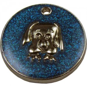 Glitter Dog Face Pet Tag 32 mm