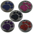 Pet Tags 25mm Nickel Plated with Glitter paw