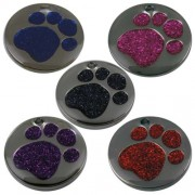 Engravable 25mm Nickel Plated Pet Tag with Glitter Paw Insert