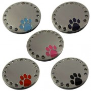 Chrome Plated 30 mm Circle Pet Tag with Crystals