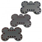 Chrome Plated 38 mm Bone Pet Tag with Crystals