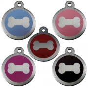 Stainless Steel 25 mm Bone Print Pet Tag.