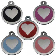 Stainless Steel 25 mm Heart Print Pet Tag.